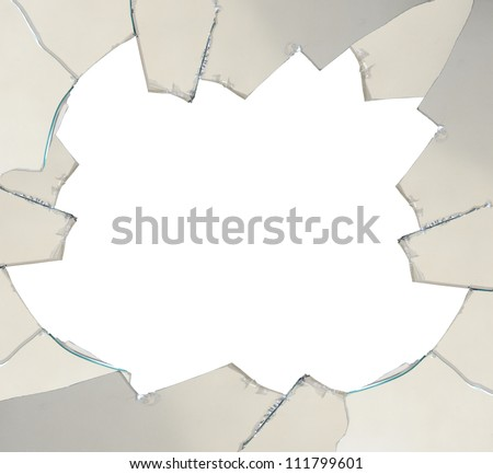 Broken glass with space for text - isolated on white