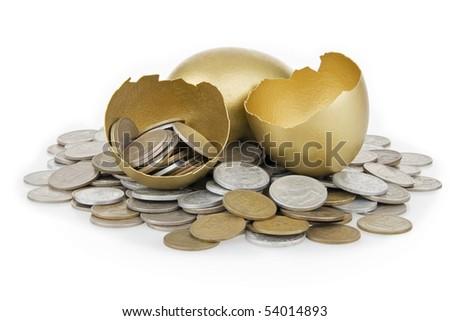 Broken gold egg and old money,on white background.