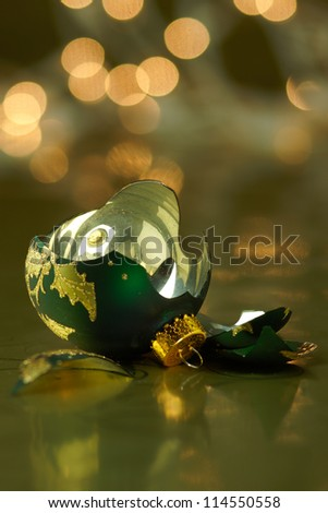 Broken Green and Gold Holiday ornament