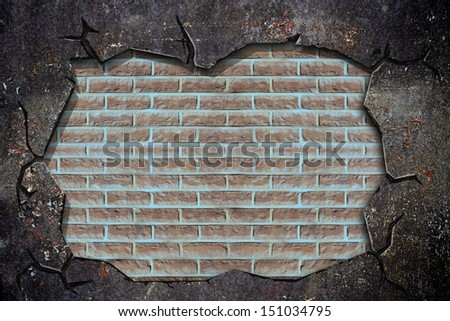broken grunge wall with brick wall inside
