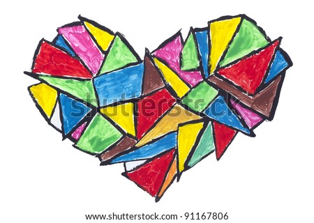 broken heart abstract concept- isolated  painted children naive drawing