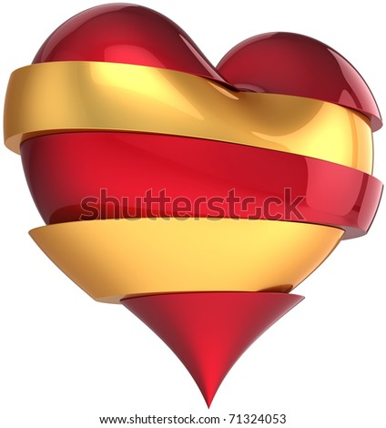 Broken heart collected from red and golden slices. Fall out of love abstract composition. Valentine's Day greeting card design element. This is a detailed render 3d cgi. Isolated on white background