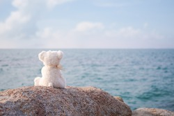 Broken heart concept. alone teddy bear sitting on stone with blue sea and blue sky blured. compose articles for neglect, loneliness, sad, the child has a problem.