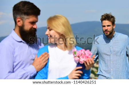 Broken heart concept. Couple romantic date lovers flirting. Couple in love happy dating, jealous man watching woman prefers another macho instead him. Lovers meeting outdoor flirt romance relations. #1140426251