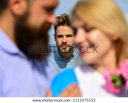 Broken heart concept. Couple romantic date lovers flirting. Lovers meeting outdoor flirt romance relations. Couple in love happy dating, jealous man watching woman prefers another macho instead him. #1111075532
