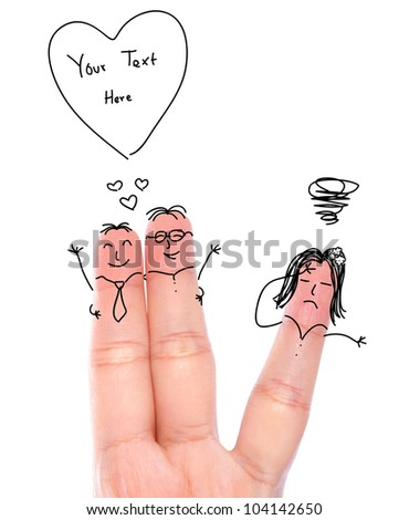 Broken heart concept painted on human fingers ( couple gay and one women crying )