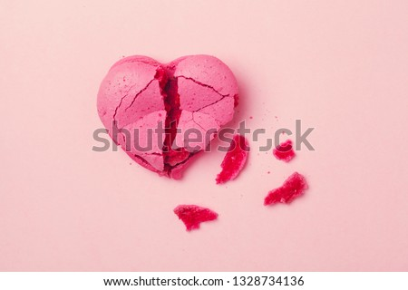 broken heart isolated on pink background, divorce, depression and breakup concept, crying, medical cardiovascular health care problems #1328734136
