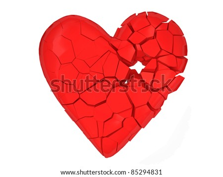 Broken Heart on white background - stock photo