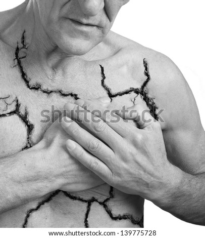 Broken heart.Pain concept.Isolated on white