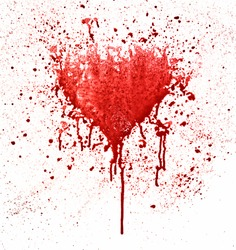 Broken heart. Red spot in the shape of a heart on white background.