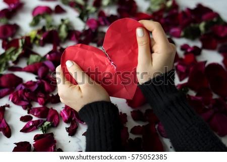 Broken Heart Sadness Frustration Flower Leafs