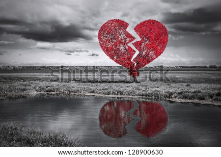 Broken Heart Tree. Black And White Stock Photo 128900630 ...