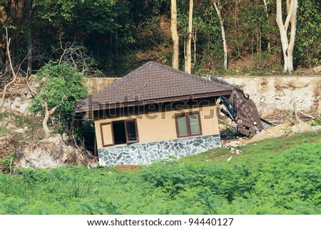 Broken house by landslide