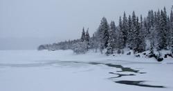 Broken ice on the lake