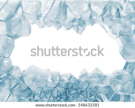Broken Ice Wall isolated on white background. (Animation for this image see in my footage gallery)