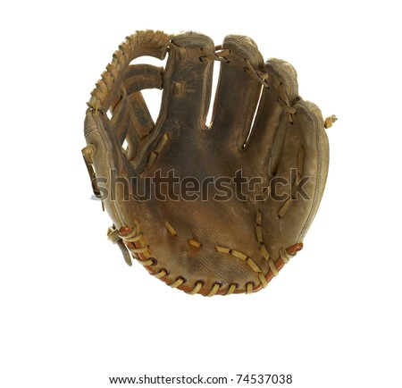 Broken in leather baseball glove isolated on white - stock photo