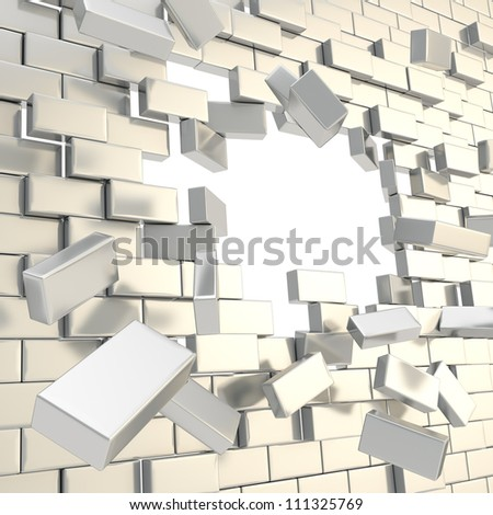 Broken into pieces chrome metal silver brick wall with a copyspace hole in center