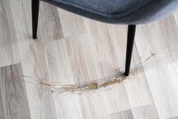 Broken Laminate Floor Damage. Destroyed House Flooring
