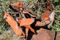 Broken metal after strong impact
