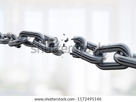 Broken metal chain on background