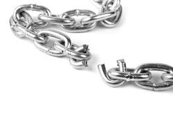 broken metal chain on white background
