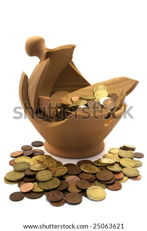 Broken money box with coins scattered all around on a white background