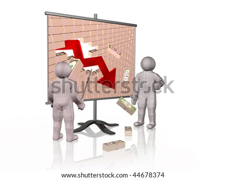 Broken money wall on the screen - world financial crisis allegory.