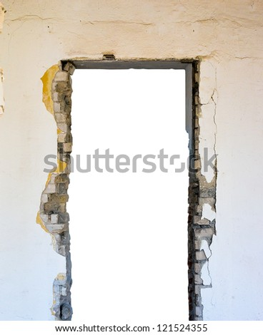 Broken open doorway in a wall