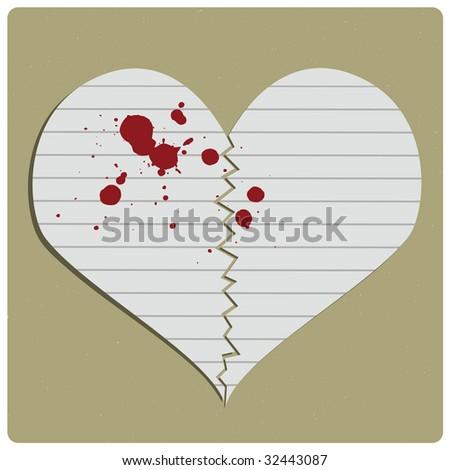 Broken paper heart - stock photo