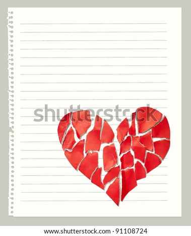 Broken paper heart on notebook page with empty space for text