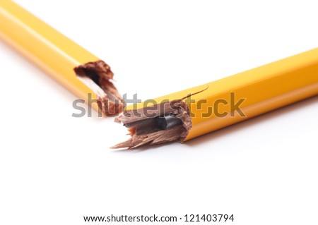 Broken pencil pencil on white background, close-up
