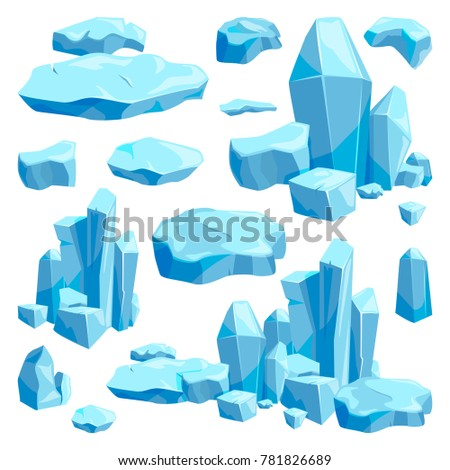 Stock Photo Broken pieces of ice. Game design illustrations in cartoon style. Blue ice frost and cool object