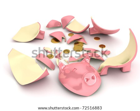 Broken piggy bank over white background. 3d rendered image