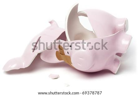 Broken piggy savings bank