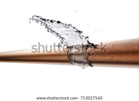 broken pipe is leaking water, isolated on white. 3d illustration