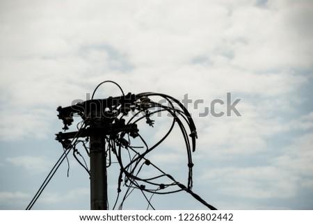 Broken powerline wires #1226802442