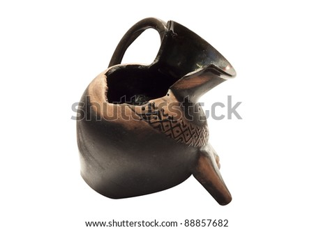 Broken Rare amphora isolated on the white background