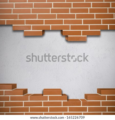 Broken red brickwall with white concrete texture in the background