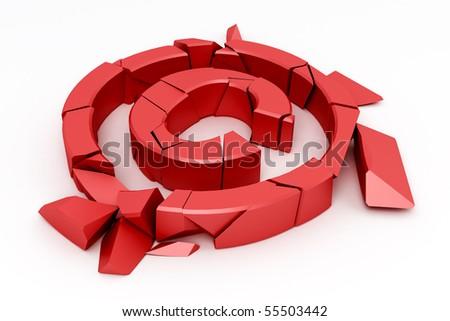 Broken red copyright sign on white