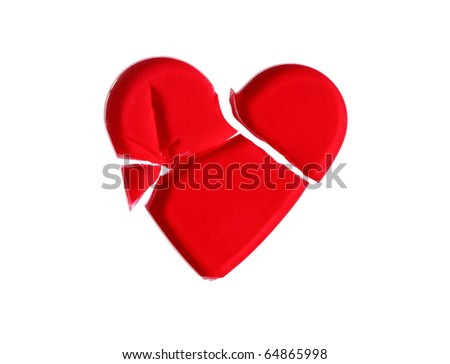 Broken red glass heart isolated on white background with clipping path