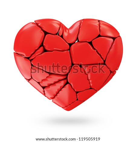 Broken Red Heart isolated on white background