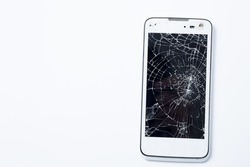 Broken Screen Smartphone on white background. image is copy space