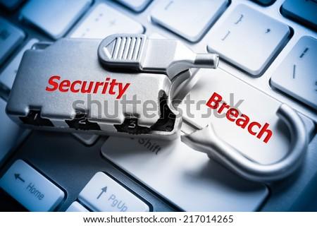 broken security lock on computer keyboard - security breach