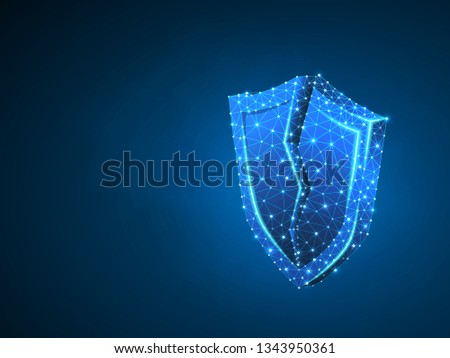 Broken Security shield abstract neon 3d illustration. Polygonal Raster business concept of data protection crash. Low poly wireframe, geometry triangle, lines, dots, polygons on blue background