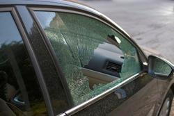 Broken side window in a car