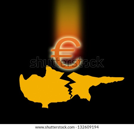 Broken silhouette of Cyprus and the falling Euro sign. On black background