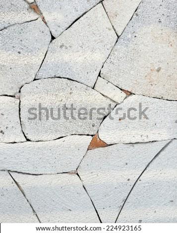 Broken tiles white pattern wall texture background