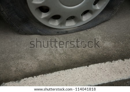 Broken tire on the road