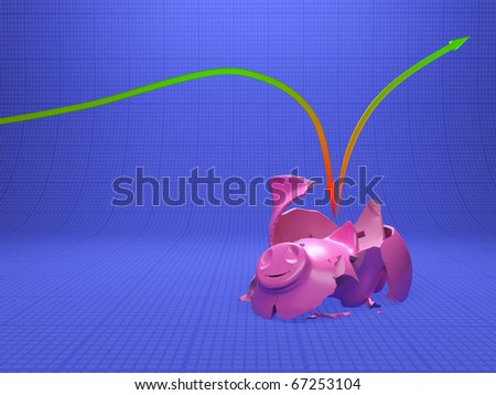 Broken up Piggy Bank on dark blue diagram
