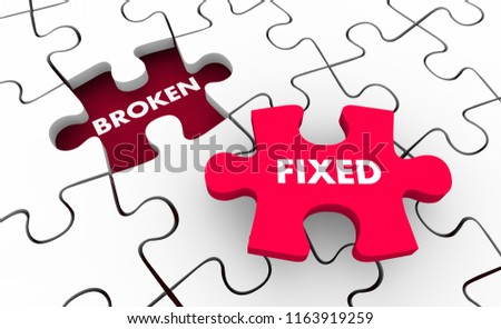 Broken Vs Fixed Problem Solving Fixing Puzzle 3d Illustration